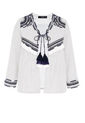Hallhuber Embroidered Ethnic Jacket With Tassels Multi Coloured Multi Coloured