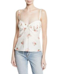 Brock Collection Tessie Orchid Print Bustier Silk Cotton Tank Top White Pattern