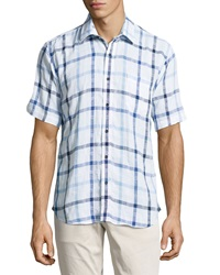 Neiman Marcus Classic Fit Linen Big Check Sport Shirt Sailor