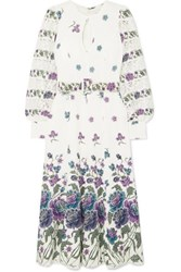 Andrew Gn Lace Trimmed Printed Silk Blend Midi Dress White