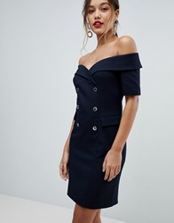 Morgan Bardot Tuxedo Pencil Dress Navy