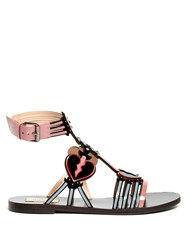Valentino Love Blade Patent Leather Flat Sandals Black Pink