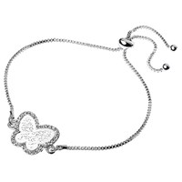 Adele Marie Filigree Butterfly Pave Set Adjustable Bracelet Silver