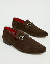 Base London Soprano Bar Loafers In Dark Brown Suede