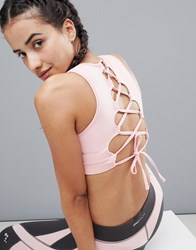 Only Play Lace Up Yoga Bra Pink
