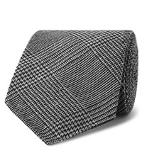 Drakes Drake's 8Cm Prince Of Wales Checked Silk And Wool Blend Tie Gray
