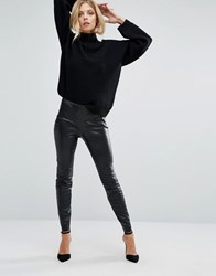 Boss Orange Faux Leather Black Leggings With Ribbing Black