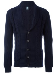 Eleventy Cable Knit Cardigan Blue