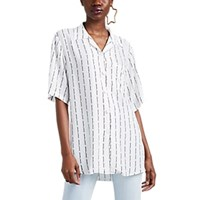 Off White C O Virgil Abloh Pinstripe Crepe Camp Collar Shirt White