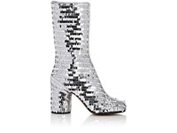 Maison Martin Margiela Women's Paillette Embellished Mid Calf Boots Silver Brown