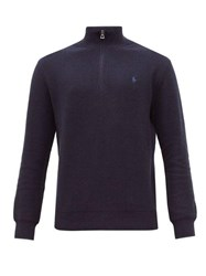 Polo Ralph Lauren Quarter Zip Waffle Knit Pima Cotton Sweatshirt Navy