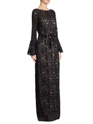 Rickie Freeman For Teri Jon Bell Sleeve Lace Gown Black Nude