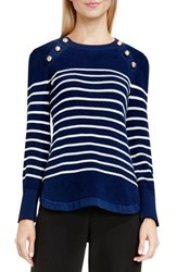 Vince Camuto Women's Button Detail Stripe Sweater Naval Navy