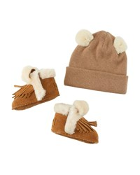 Ugg Darlala Suede Fringe Booties And Knit Wool Beanie Hat W Ears Baby Brown