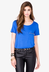 Forever 21 Essential Zipper Pocket Tee Imperial Blue