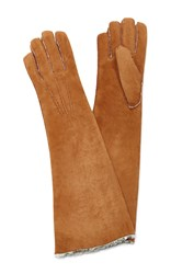 Maison Fabre Suede And Shearling Long Gloves Brown
