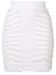 Balmain Ribbed Knit Skirt White