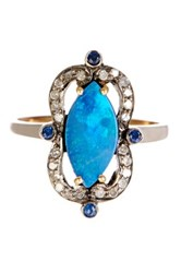 18K Gold And Silver Multi Gemstone Diamond Freeform Ring Blue