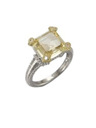 Judith Ripka Crystal And Sterling Silver Ring Canary