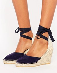 Park Lane Suede Tie Ankle Espadrille Wedge Navy