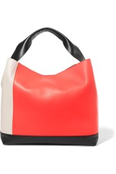 Marni Pod Color Block Leather Tote Bright Orange