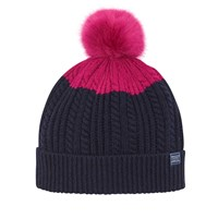 Joules Bobble Hat Navy Pink