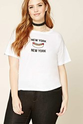 Forever 21 Plus Size New York Hot Dog Tee White