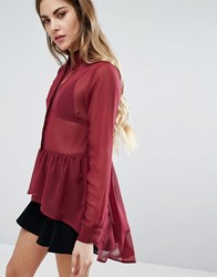 Qed London Peplum Hem Sheer Blouse Oxblood Red