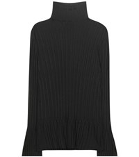 Tory Burch Isla Ribbed Turtleneck Sweater Black