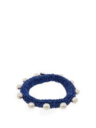 Lucy Folk Pearl Diver Crochet And Pearl Bracelet Blue
