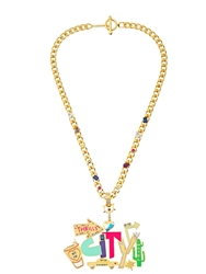 Maria Francesca Pepe Street Neon Necklace Gold Multi