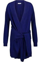 Sandro Edith Tie Front Wool And Cashmere Blend Cardigan Royal Blue