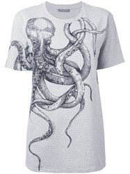 Alexander Mcqueen Octopus Print T Shirt Women Cotton 40 Grey