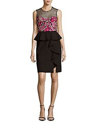 Marchesa Embroidered Sleeveless Peplum Dress Black
