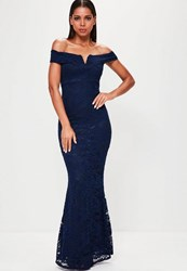 Missguided Navy Lace V Bar Bandeau Maxi Dress Blue