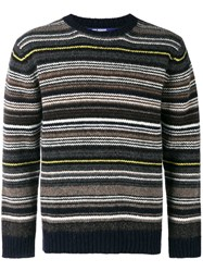 Junya Watanabe Man Striped Knit Jumper Brown