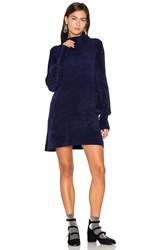 Free People New Moon Chenille Tunic Sweater Navy