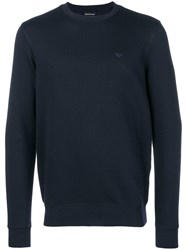 Emporio Armani Logo Embroidered Sweater Blue