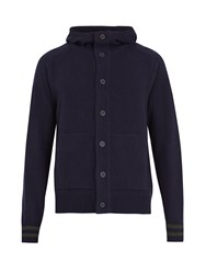 Tomas Maier Hooded Wool Cardigan Navy