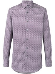 Ermenegildo Zegna Hexagon Print Long Sleeve Shirt Men Cotton L Pink Purple