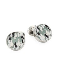Saks Fifth Avenue Collection Camouflage Round Cufflinks Grey