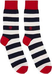 Alexander Mcqueen Navy And Cream Striped Skull Socks
