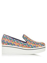 Stella Mccartney Binx Woven Ribbon Flatform Loafers Yellow Multi