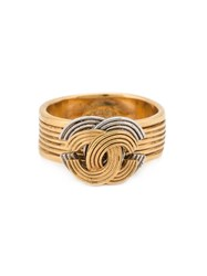 Chanel Vintage Grooved Logo Ring Metallic