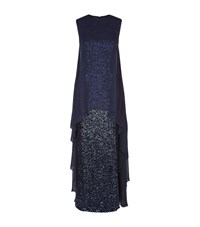 Talbot Runhof Lofton1 Sheer Overlay Sequin Gown Female Navy