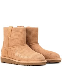 Ugg Classic Unlined Mini Perf Suede Ankle Boots Beige