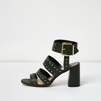 River Island Womens Dark Green Rocker Stud Block Heel Sandals