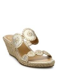 Jack Rogers Shelby Whipstitched Leather Espadrille Wedge Sandals Platinum