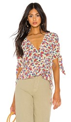 Faithfull The Brand Lucy Wrap Top In White. Lumina Floral