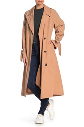 Cole Haan Woven Button Front Trench Coat Blush